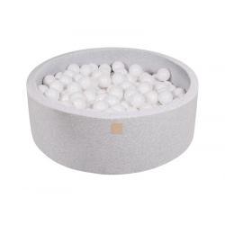 Suchy Basen jasnoszary 90x40cm z 200 piłkami (białe)