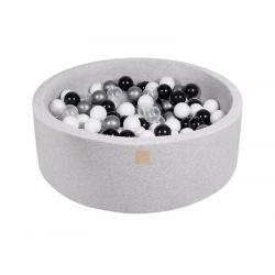 Suchy Basen jasnoszary 90x40cm z 200 piłkami (białe, czarne, transparentne, srebrne)