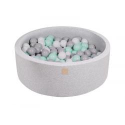 Suchy Basen jasnoszary 90x40cm z 200 piłkami (miętowe, szare, białe)
