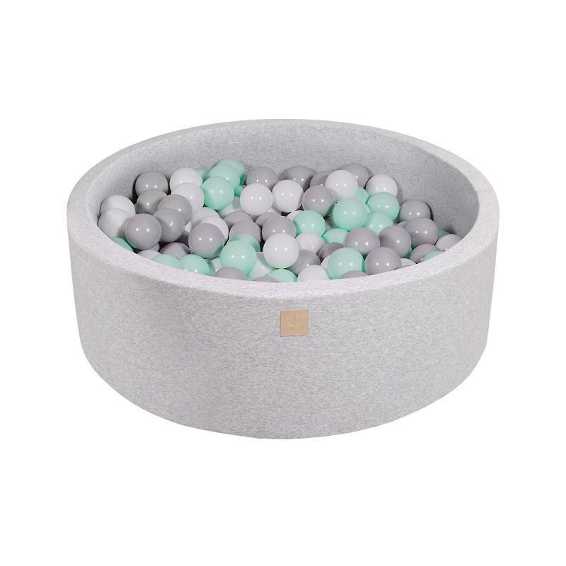 Suchy Basen jasnoszary 90x30cm z 200 piłkami (miętowe, transparentne, srebrne, fioletowe)