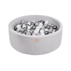Suchy Basen jasnoszary 90x40cm z 200 piłkami (srebrne,szare,białe)
