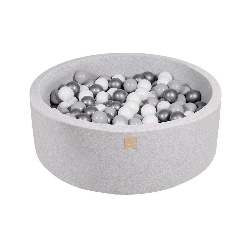 Suchy Basen jasnoszary 90x30cm z 200 piłkami (pomarańczowe, białe, miętowe)