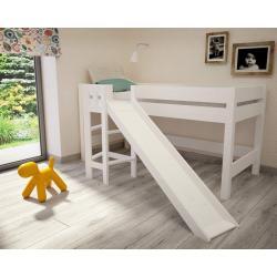 Łóżko Lara ze Zjeżdżalnią 200x90 (białe)