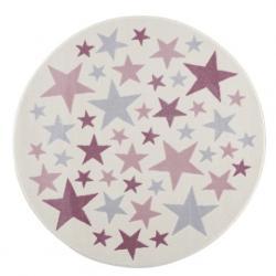Dywan Kremowo-Srebrny Okrągły w Różowe Gwiazdki