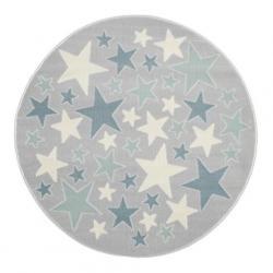 Dywan Szaro-Srebrny Okrągły w Niebieskie Gwiazdki