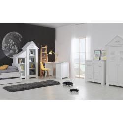 Pinio Marsylia MDF Zestaw D (szafa dwudrzwiowa + łóżko 200x90 z szufladą + komoda + regał + regał dostawka + biurko)