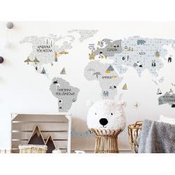 Naklejka Mapa Świata Szara