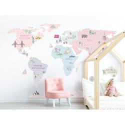 Naklejka Mapa Świata Różowa