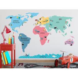 Naklejka Mapa Świata Kolorowa