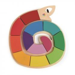 Drewniana zabawka - Kolorowy wąż, kolory i kształty, Tender Leaf Toys