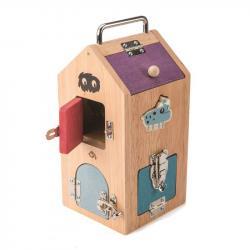 Drewniana zabawka manipulacyjna z zamkami - Domek Potworów, Tender Leaf Toys