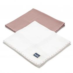 La Millou BISCUIT COLLECTION - 2 PACK PIELUSZKA 100% COTTON MUSLIN - FRENCH LAVENDER & OFF WHITE