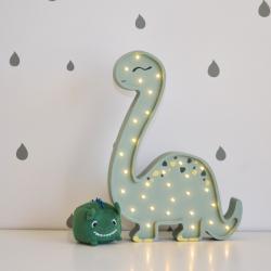 Diplodok Pastelowy Zielony - Lampka Drewniana Lights My Love