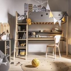 Funflex Łóżko wysokie z biurkiem i półką
