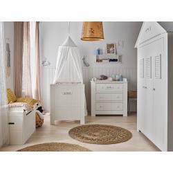 Pinio Marsylia MDF Zestaw E (szafa trzydrzwiowa + łóżeczko 120x60 + komoda + przewijak + skrzynia na zabawki + półka)