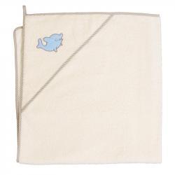 Ręcznik z kapturem Delfinek Beżowy - Cebababy